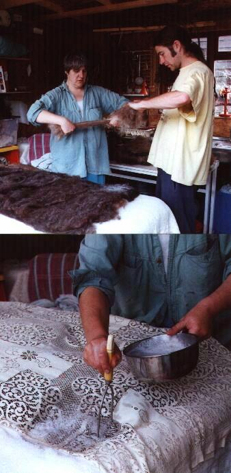 The fleece is carded and laid in layers before wetting and flattening...